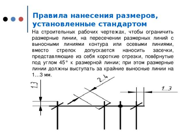 Правила нанесения размеров, установленные стандартом  На строительных рабочих чертежах, чтобы ограничить размерные линии, на пересечении размерных линий с выносными линиями контура или осевыми линиями, вместо стрелок допускается наносить засечки, представляющие из себя короткие отрезки, повёрнутые под углом 45° к размерной линии; при этом размерные линии должны выступать за крайние выносные линии на 1… 3 мм.