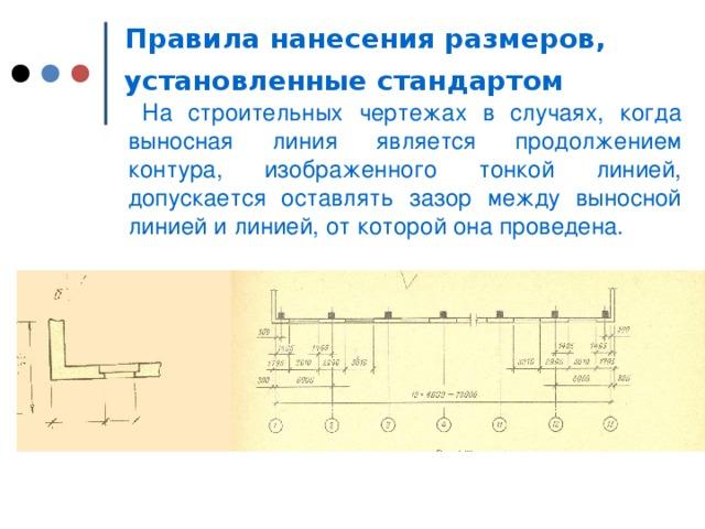 Правила нанесения размеров, установленные стандартом   На строительных чертежах в случаях, когда выносная линия является продолжением контура, изображенного тонкой линией, допускается оставлять зазор между выносной линией и линией, от которой она проведена.