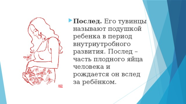 Послед. Его тувинцы называют подушкой ребенка в период внутриутробного развития. Послед – часть плодного яйца человека и рождается он вслед за ребёнком.