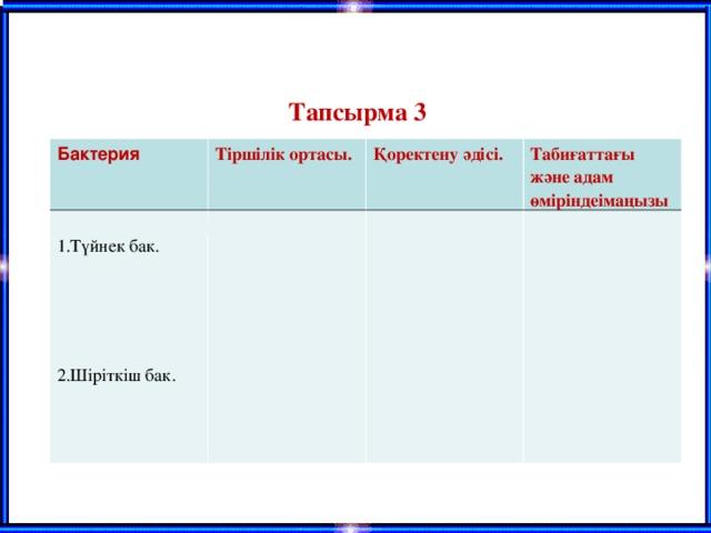 Тапсырма 3 «Кестемен жұмыс»  Бактерия Тіршілік ортасы. 1.Түйнек бак.   2.Шіріткіш бак.   Қоректену әдісі. Табиғаттағы және адам өміріндеімаңызы БАКТЕРИЯЛАР    .