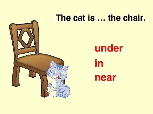 The cat is … the chair. under in near