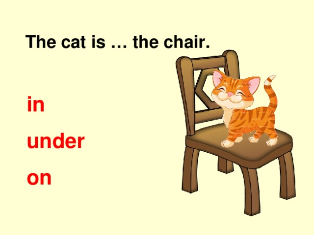 The cat is … the chair. in under on