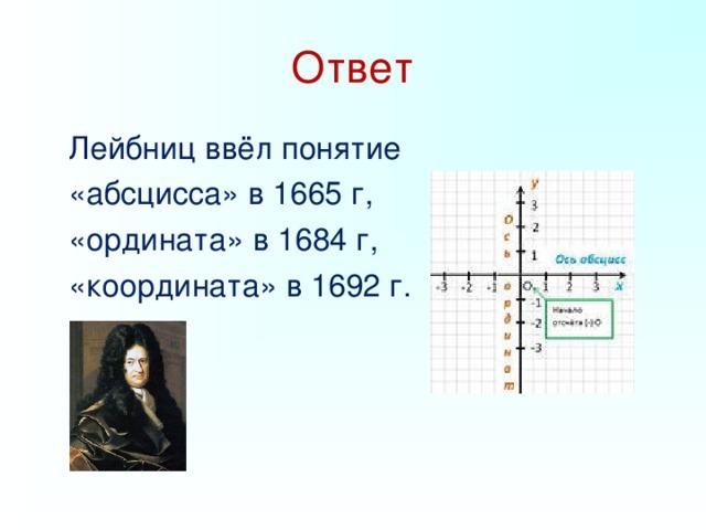 Ответ  Лейбниц ввёл понятие   «абсцисса» в 1665 г,  «ордината» в 1684 г,   «координата» в 1692 г.