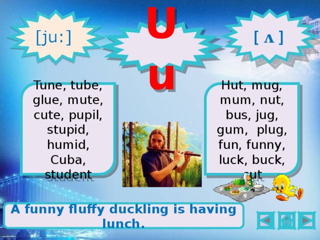 [  ʌ  ] Uu 1 2 Tune, tube, glue, mute, cute, pupil, stupid, humid, Cuba, student Hut, mug, mum, nut, bus, jug, gum, plug, fun, funny, luck, buck, cut Cute has got a flute and a blue ruler. A funny fluffy duckling is having lunch.