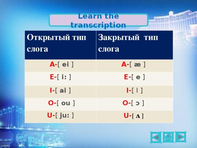 Learn the transcription Открытый тип слога Закрытый тип слога  A- [ ei ] A- [ æ ]  E- [ i: ]  E- [ e ]  I- [ ai ]  O- [ ou ] I- [ I ] O- [ ɔ ]  U- [ ju: ] U- [ ʌ ]