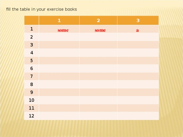 fill the table in your exercise books 1 1 2 2 3 3 4 5 6 7 8 9 10 11 12 some some a