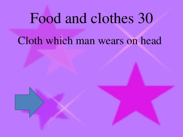 Food and clothes 30  Cloth which man wears on head