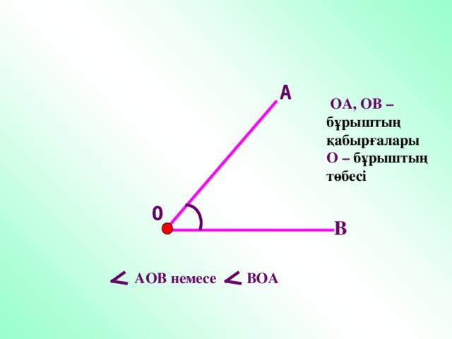 А  ОА, ОВ – бұрыштың қабырғалары О – бұрыштың төбесі О В  АОВ немесе ВОА