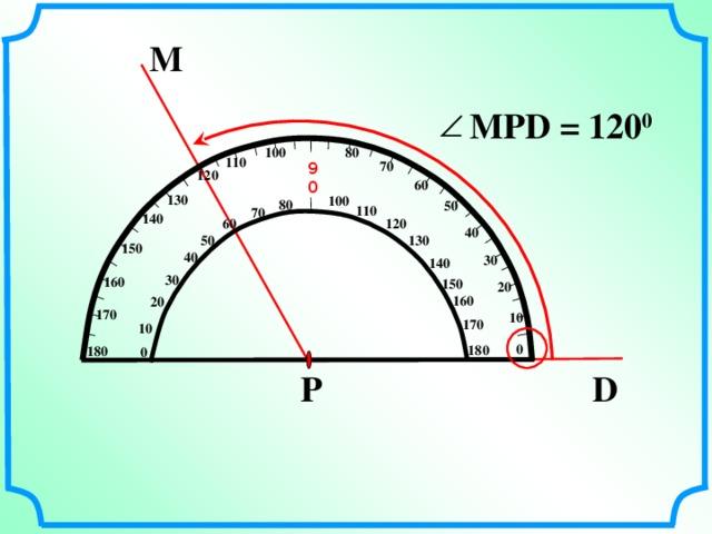 М MPD = 12 0 0 80 100 110 70 90 120 60 130 100 80 50 110 70 140 60 120 40 130 50 150 40 30 140 30 160 150 20 160 20 170 10 170 10 0 180  180 0 Р D 7