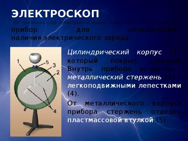 ЭЛЕКТРОСКОП  (от греческих слов «электрон» и skopeo – наблюдать, обнаруживать)  прибор для определения наличияэлектрического заряда.   Цилиндрический корпус (1), который покрыт стеклом;   Внутрь прибора вставлен металлический стержень (3) с легкоподвижными лепестками (4).   От металлического корпуса прибора стержень отделен пластмассовой втулкой (5).