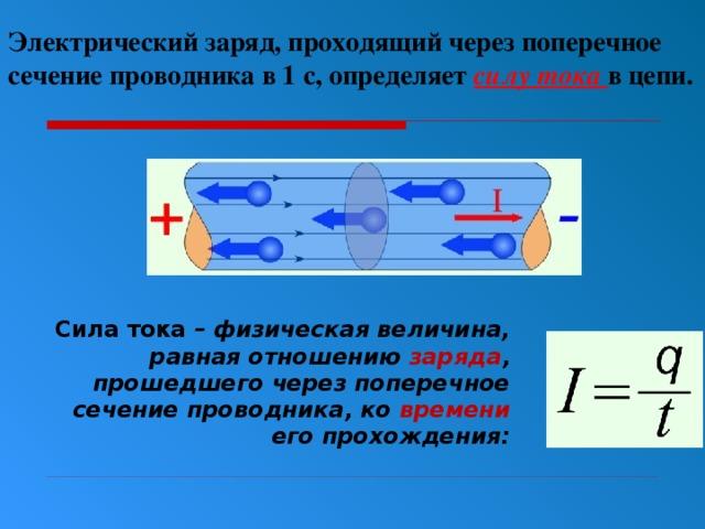 Электрический заряд, проходящий через поперечное сечение проводника в 1 с, определяет силу тока в цепи.  Сила тока – физическая величина, равная отношению заряда , прошедшего через поперечное сечение проводника, ко времени его прохождения: