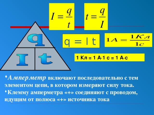 q = I t 1 Кл = 1 А∙1 с = 1 А∙с