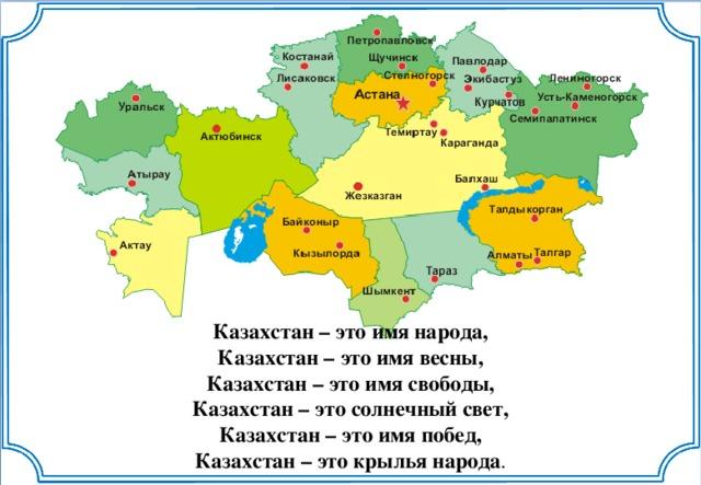 Казахстан – это имя народа, Казахстан – это имя весны, Казахстан – это имя свободы, Казахстан – это солнечный свет, Казахстан – это имя побед, Казахстан – это крылья народа .