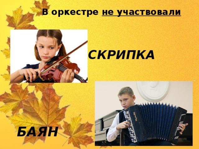 В оркестре не участвовали СКРИПКА    БАЯН