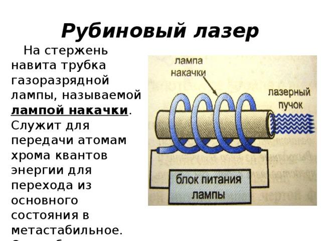 Рубиновый лазер На стержень навита трубка газоразрядной лампы, называемой лампой накачки . Служит для передачи атомам хрома квантов энергии для перехода из основного состояния в метастабильное. Очень быстро образуется «перенаселённость» метастабильного уровня.