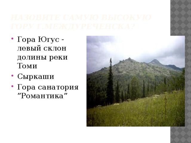 Назовите самую высокую гору г.Междуреченска?