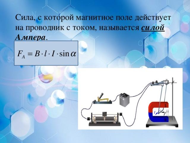 Сила, с которой магнитное поле действует на проводник с током, называется силой Ампера .