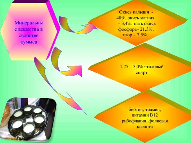 Окись кальция - 48%, окись магния  – 3,4%, пять окись фосфора– 21,3%, хлор – 7,5%. Минеральные вещества в свойстве кумыса 1,75 – 3,0% этиловый спирт биотин, тиамин, витамин В12 рибофлавин, фолиевая кислота