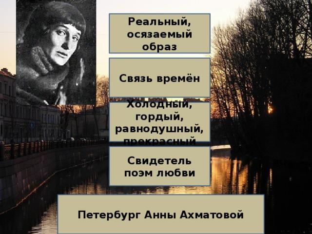 Реальный, осязаемый образ Связь времён Холодный, гордый, равнодушный, прекрасный Свидетель поэм любви Петербург Анны Ахматовой