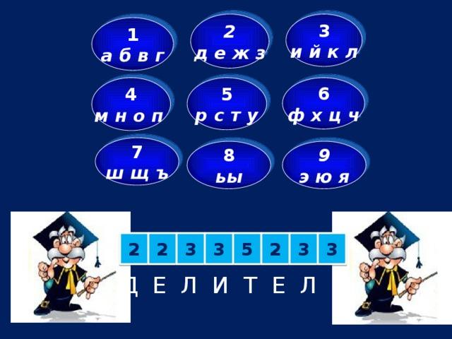3 2 д е ж з и й к л 1 а б в г 6 4 5 м н о п  ф х ц ч р с т у 7 ш щ ъ 9 8 э ю я ьы 2 2 3 5 2 3 3 3 Д Е Л И Т Е Л И