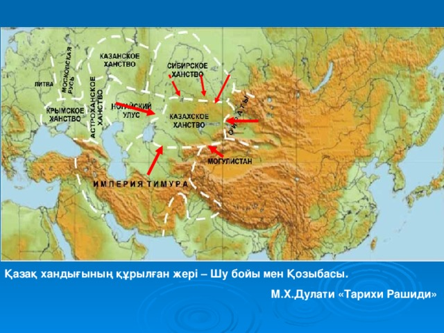 Қазақ хандығының құрылған жері – Шу бойы мен Қозыбасы.       М.Х.Дулати «Тарихи Рашиди»