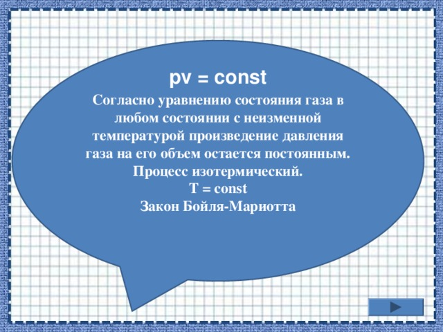 Согласно уравнению состояния газа в любом состоянии с неизменной температурой произведение давления газа на его объем остается постоянным. Процесс изотермический. T = const Закон Бойля-Мариотта  pv = const