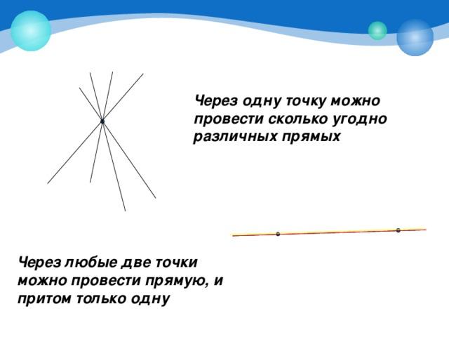 Через одну точку можно провести сколько угодно различных прямых Через любые две точки можно провести прямую, и притом только одну
