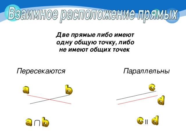 Две прямые либо имеют одну общую точку, либо не имеют общих точек Параллельны Пересекаются ll