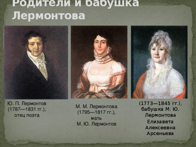 Родители и бабушка Лермонтова Ю.П.Лермонтов (1787—1831гг.), отец поэта (1773—1845 гг.), бабушка М. Ю. Лермонтова М.М.Лермонтова (1795—1817гг.),  мать М.Ю.Лермонтов Елизавета Алексеевна Арсеньева