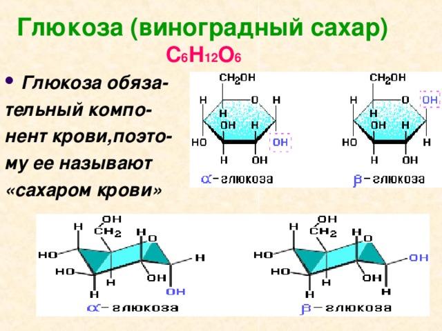 Глюкоза (виноградный сахар)   С 6 Н 12 О 6 Глюкоза обяза- тельный компо- нент крови,поэто- му ее называют «сахаром крови»