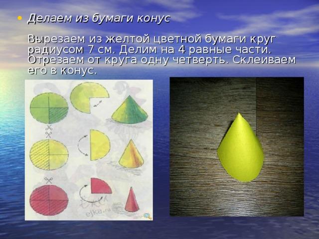 Делаем из бумаги конус   Вырезаем из желтой цветной бумаги круг радиусом 7 см. Делим на 4 равные части. Отрезаем от круга одну четверть. Склеиваем его в конус.