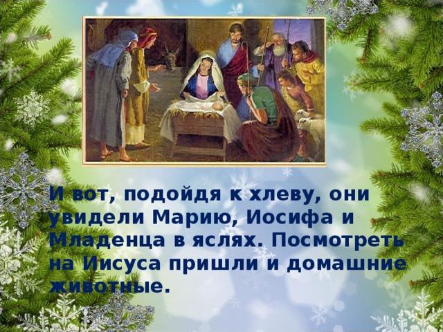 И вот, подойдя к хлеву, они увидели Марию, Иосифа и Младенца в яслях. Посмотреть на Иисуса пришли и домашние животные.