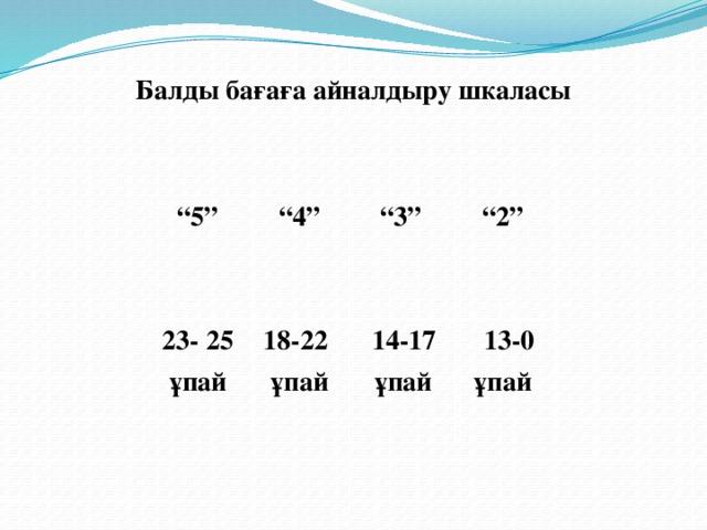 """Балды бағаға айналдыру шкаласы   """" 5"""" """" 4"""" 23- 25 ұпай 18-22 ұпай  """" 3"""" """" 2"""" 14-17  ұпай   13-0 ұпай"""
