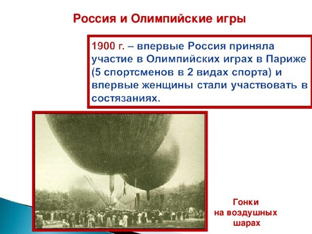 Россия и Олимпийские игры Г онки на воздушных шарах