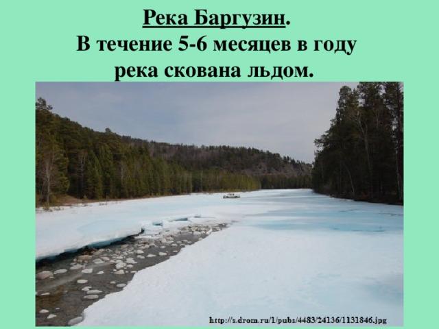 Река Баргузин . В течение 5-6 месяцев в году река скована льдом.