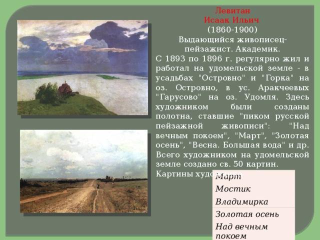 Левитан  Исаак Ильич   (1860-1900)  Выдающийся живописец-пейзажист. Академик. С 1893 по 1896 г. регулярно жил и работал на удомельской земле - в усадьбах