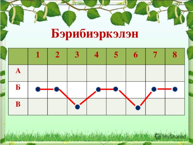 Бэрибиэркэлэн 1 А Б 2 3 В 4 5 6 7 8
