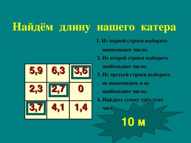Найдём длину нашего катера  1. Из первой строки выберите  наименьшее число.  2. Из второй строки выберите  наибольшее число.  3. Из третьей строки выберите  не наименьшее и не  наибольшее число.  4. Найдите сумму трёх этих  чисел   5,9 2,3 6,3 3,6 2,7 3,7 0 4,1 1,4 10 м