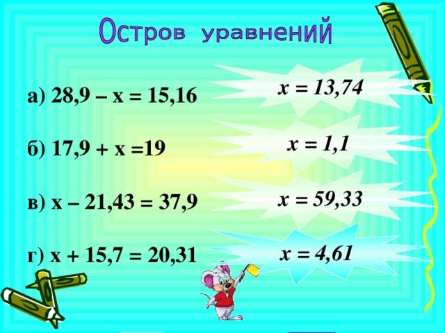 а) 28,9 – х = 15,16  б) 17,9 + х =19  в) х – 21,43 = 37,9  г) х + 15,7 = 20,31       х = 13,74            х = 1,1       х = 59,33   х = 4,61