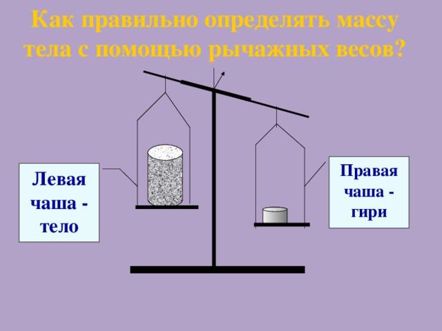 Как правильно определять массу тела с помощью рычажных весов? Правая чаша - гири Левая чаша - тело