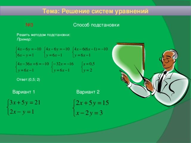 Тема: Решение систем уравнений Способ подстановки № 3 Решить методом подстановки: Пример: Ответ:(0,5; 2) Вариант 1 Вариант 2