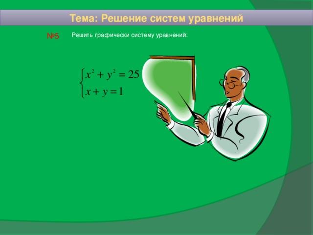 Тема: Решение систем уравнений № 5 Решить графически систему уравнений: