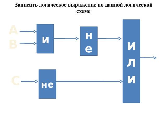Записать логическое выражение по данной логической схеме или А и не В не С