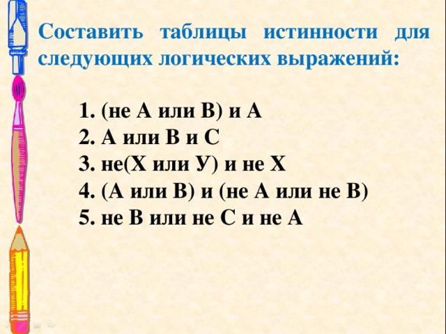 Составить таблицы истинности для следующих логических выражений: 1. (не А или В) и А 2. А или В и С 3. не(Х или У) и не Х 4. (А или В) и (не А или не В) 5. не В или не С и не А
