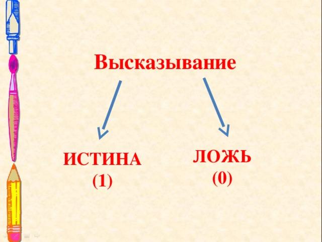 Высказывание ЛОЖЬ (0) ИСТИНА (1)