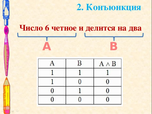 2. Конъюнкция Число 6 четное и делится на два А В