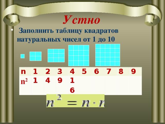 Устно  Заполнить таблицу квадратов натуральных чисел от 1 до 10  n n 2 1 1 2 3 4 9 4 16 5 6 7 8 9
