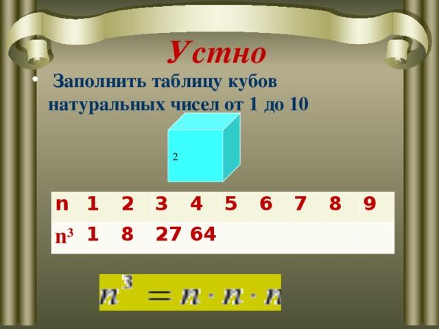 Устно  Заполнить таблицу кубов натуральных чисел от 1 до 10  2 n n 3 1 2 1 3 8 27 4 64 5 6 7 8 9