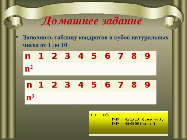 Домашнее задание Заполнить таблицу квадратов и кубов натуральных чисел от 1 до 10 n n 2 1 2 3 4 5 6 7 8 9 n n 3 1 2 3 4 5 6 7 8 9