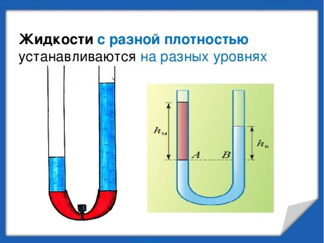 Жидкости с разной плотностью  устанавливаются на разных уровнях